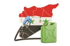 Produkcja i handel benzyna w Syrii, pojęcie świadczenia 3 d Zdjęcie Stock
