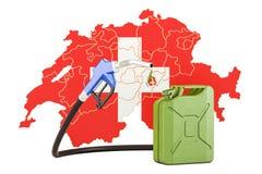 Produkcja i handel benzyna w Szwajcaria, pojęcie 3D rende Ilustracji