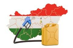 Produkcja i handel benzyna w Węgry, pojęcie świadczenia 3 d Obrazy Stock