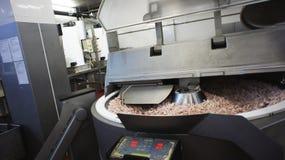 Produkcja kiełbasy. Kiełbasiana fabryka. fotografia royalty free