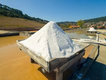 Produkcja sól odparowywaniem Zasolonym Zdjęcia Royalty Free