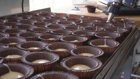 Produkcja słodka bułeczka i tort na produkcji w dużych ilościach Przemysł spożywczy, robi cukierkom zbiory wideo