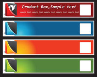Produkt-Kasten-Fahne Stockfotos