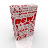 Produkt-Kasten - neu und verbessert Stockbilder