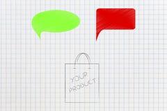 Produkt pakuje z zielony i czerwony komiczny bąbli reprezentować zdjęcia royalty free