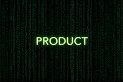 Produkt, Schlüsselwort des Gedränges, auf einem grünen Matrixhintergrund lizenzfreie stockfotos