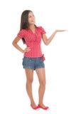 produkt som visar den plattform kvinnan Royaltyfri Bild