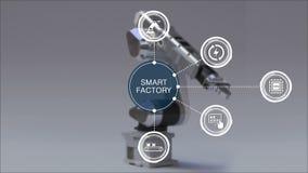 Produkt till att använda robotarmen i smart fabrik Omgiven smart för informationsdiagram om fabrik symbol E 1 arkivfilmer