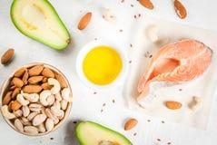 Produkte mit gesunden Fetten stockfotos
