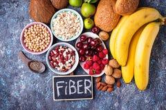 Produkte reich in der Faser Nahrung der gesunden Diät stockfotografie