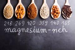 Produkte reich im Magnesium lizenzfreie stockbilder