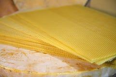 Produkte von Lebensunterhalt von Bienen Bienenwachs, Bienenwabe, Honig, Blütenstaub, Propolis Stockfoto