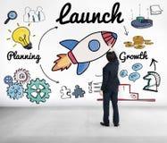 Produkteinführung gründen neues Geschäft, Konzept anzufangen lizenzfreie stockbilder