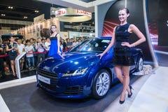 Produkteinführung neuen Coupés Audis TT im Singapur Motorshow 2015 Lizenzfreie Stockbilder