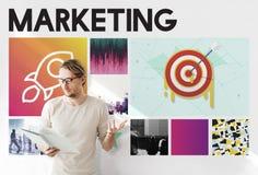 Produkteinführungs-Ziel-Ziele Rocketship-Grafik-Konzept Lizenzfreies Stockfoto