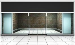 produkten för presentationen eps10 för designen shoppar den tomma ytterfrämre dina lagerfönster Arkivbild