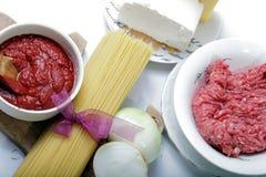Produkter för spagetti Bolognese Royaltyfri Foto