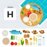 Produkter med vitaminH Arkivfoto