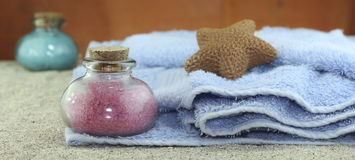 Produkter och utensils för badning Arkivbild