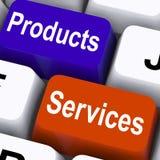 Produkter Serva Stämma Uppvisning Företag gods Arkivfoton
