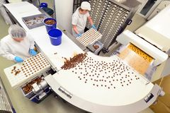 Produktion av brända mandlar i en fabrik för livsmedelsindustrin - conv royaltyfria bilder