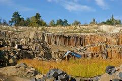 Produktion des Basalts Stockfoto