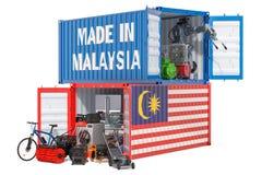 Produktion och sändnings av elektroniskt och anordningar från Malaysia, tolkning 3D royaltyfri illustrationer