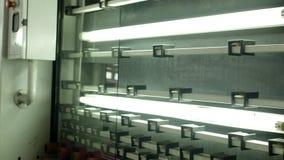 Produktion und Herstellung des isolierenden Fenster, sauberen und trockenen Glases des Glases und PVC-kommt von der Fertigungsstr stock video footage