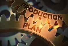 Produktionplanbegrepp gears guld- illustration 3d royaltyfri illustrationer