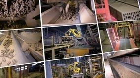 Produktionrobotar som arbetar på den tunga industriella fabriken 4K stock video