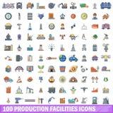 100 Produktionsanlagenikonen eingestellt, Karikaturart Lizenzfreies Stockbild