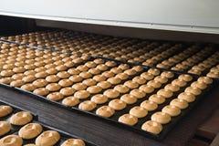 Produktionslinje av stekheta kakor på fabriken, livsmedelsindustri, closeup Fotografering för Bildbyråer