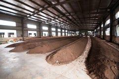 Produktionslinje för organisk gödningsmedel Fotografering för Bildbyråer
