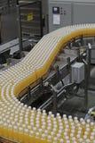 Produktionslinje i en buteljera fabrik Royaltyfri Foto