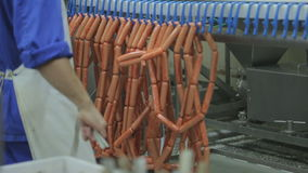 Produktionslinjen och emballage av wienerkorvinsidan shoppar slakthuset lager videofilmer
