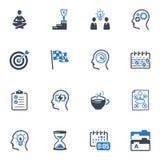 Produktiv an den Arbeits-Ikonen - blaue Serie Stockfotos