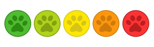 Produktrankningssystem - 5 djur röda Paw Buttons From Green To - vektorillustration - som isoleras på vit royaltyfri illustrationer