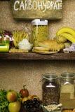 Produktu bogactwo powikłani węglowodany Foods Wysocy w węglowodanach Zdrowej diety łasowania pojęcie Szybcy i wolni węglowodany zdjęcie stock