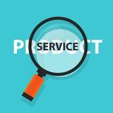 Produktu lub usługa pojęcia biznesowa analiza powiększa - szklany symbol ilustracji