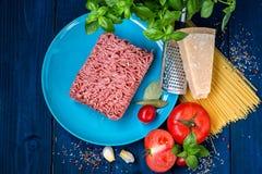 Produkty dla przygotowania makaronu bolończyk Minced mięso, pomidory, spaghetti, basil, Parmezański ser, pikantność Obrazy Royalty Free