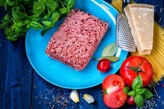 Produkty dla przygotowania makaronu bolończyk Minced mięso, pomidory, spaghetti, basil, Parmezański ser, pikantność Obraz Royalty Free