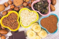Produkty zawiera magnez zdrowa żywność Fotografia Stock