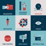 Produktywność kreskowa i kolor ikony set Obraz Royalty Free