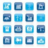 Produsing Industrie der Energie und Betriebsmittelikonen Stockbilder