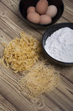 Produstion of homemade pasta Stock Photos