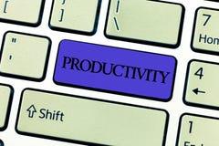 Produtividade do texto da escrita da palavra Conceito do negócio para o estado ou a qualidade de ser sucesso produtivo da eficáci fotos de stock royalty free