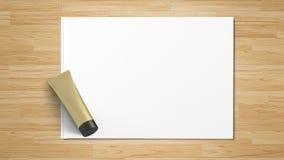 Produto cosmético isolado, vista superior no Livro Branco imagem de stock