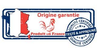 Produto feito em França A origem garantiu o selo imprimível Imagens de Stock Royalty Free