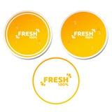 produto fresco de 100 por cento Grupo de etiquetas alaranjadas no estilo 3d Gotas de fluxo da água Produto natural Sumo de laranj Imagens de Stock