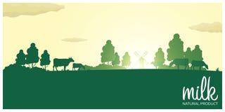 Produto natural do leite Paisagem rural com moinho e vacas Alvorecer na vila ilustração royalty free